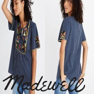 Madewell Embroidered Fable Top Striped Navy Floral